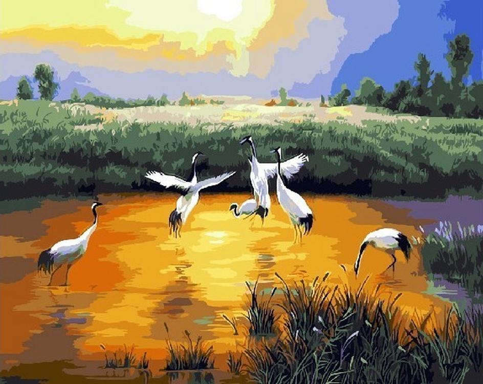 Картина по номерам «Птицы на озере» Чон Ён ДжунPaintboy (Premium)<br><br>