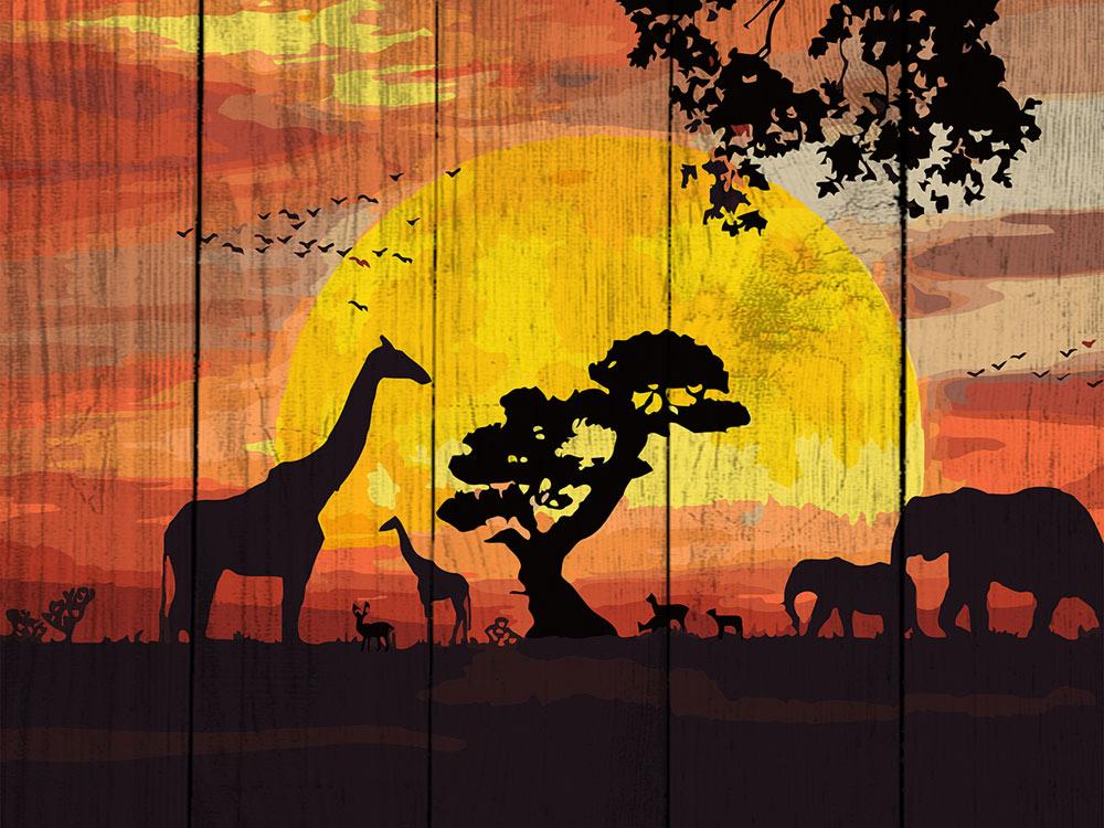 Картина по номерам по дереву Dali «Закат в саванне»Картины по номерам по дереву Dali<br><br><br>Артикул: WS007<br>Основа: Деревянное панно<br>Сложность: средние<br>Размер: 40x50 см<br>Количество цветов: 24