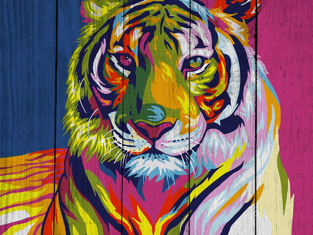 Картина по номерам по дереву Dali «Тигр поп-арт» Ваю РомдониКартины по номерам по дереву<br><br>