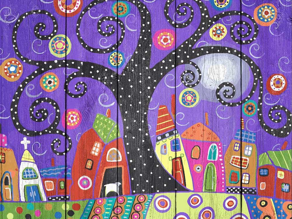 Картина по номерам по дереву Dali «Кудрявое дерево» Карлы ЖерарКартины по номерам по дереву Dali<br><br><br>Артикул: WS019<br>Основа: Деревянное панно<br>Сложность: сложные<br>Размер: 40x50 см<br>Количество цветов: 24