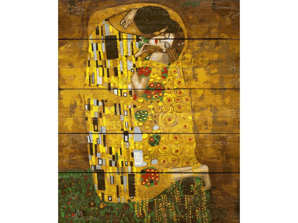 «Поцелуй» Густава КлимтаКартины по номерам по дереву Dali<br><br><br>Артикул: WS022<br>Основа: Деревянное панно<br>Сложность: очень сложные<br>Размер: 40x50 см<br>Количество цветов: 24