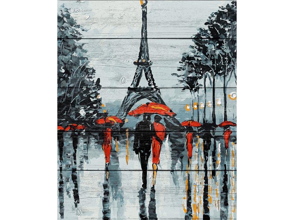 Картина по номерам по дереву Dali «Парижские зонтики»Картины по номерам по дереву Dali<br><br><br>Артикул: WS024<br>Основа: Деревянное панно<br>Сложность: очень сложные<br>Размер: 40x50 см<br>Количество цветов: 24
