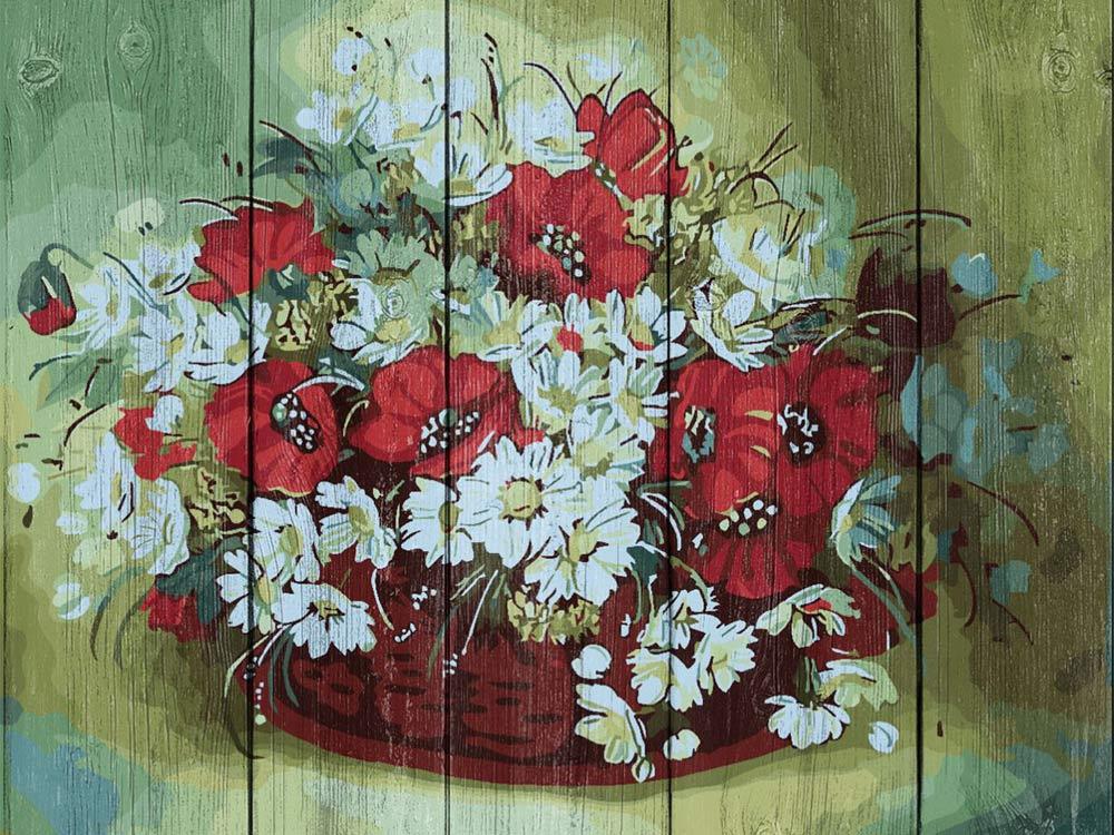 Картина по номерам по дереву Dali «Полевые цветы» Натальи ДроздаКартины по номерам по дереву Dali<br><br><br>Артикул: WS028<br>Основа: Деревянное панно<br>Сложность: очень сложные<br>Размер: 40x50 см<br>Количество цветов: 24