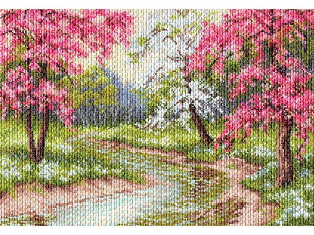 Набор для вышивания «Цветущий сад»Вышивка смешанной техникой Матренин Посад<br><br><br>Артикул: 0026/БН<br>Основа: канва Aida 14<br>Размер: 37x49 см<br>Техника вышивки: несчетный крест+бисер<br>Тип схемы вышивки: Цветная схема<br>Размер вышитой работы: 27x39 см<br>Количество цветов: Мулине: 23, бисер: 3<br>Заполнение: Полное<br>Рисунок на канве: нанесён рисунок<br>Техника: Смешанная техника<br>Нитки: нитки мулине ПНК им. Кирова