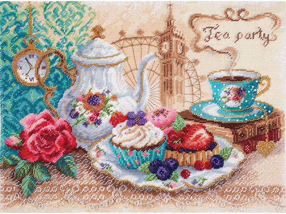 Набор для вышивания «Время пить чай»Вышивка смешанной техникой Матренин Посад<br><br><br>Артикул: 0029/БН<br>Основа: канва Aida 14<br>Размер: 37x49 см<br>Техника вышивки: несчетный крест+бисер<br>Тип схемы вышивки: Цветная схема<br>Размер вышитой работы: 30x40 см<br>Количество цветов: Мулине: 23, бисер: 8<br>Заполнение: Полное<br>Рисунок на канве: нанесён рисунок<br>Техника: Смешанная техника<br>Нитки: нитки мулине ПНК им. Кирова