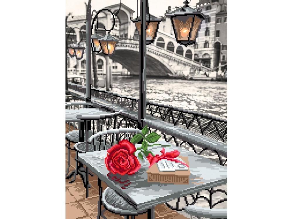 Набор вышивки бисером «Венецианское кафе»Вышивка бисером Матренин Посад<br><br><br>Артикул: 0122/Б<br>Основа: алас<br>Размер: 26x35 см<br>Техника вышивки: бисер<br>Тип схемы вышивки: Цветная схема<br>Размер вышитой работы: 28x36 см<br>Количество цветов: 18<br>Заполнение: Частичное<br>Рисунок на канве: нанесён рисунок и схема<br>Техника: Вышивка бисером