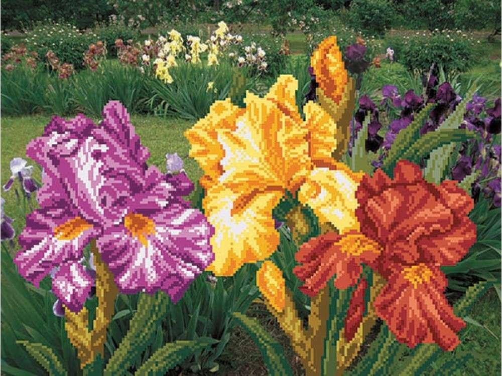 Набор вышивки бисером «Радужный сад»Вышивка бисером Матренин Посад<br><br><br>Артикул: 0011/Б<br>Основа: шелк<br>Размер: 37x49 см<br>Техника вышивки: бисер<br>Тип схемы вышивки: Цветная схема<br>Размер вышитой работы: 29x39 см<br>Количество цветов: 19<br>Заполнение: Частичное<br>Рисунок на канве: нанесён рисунок и схема<br>Техника: Вышивка бисером