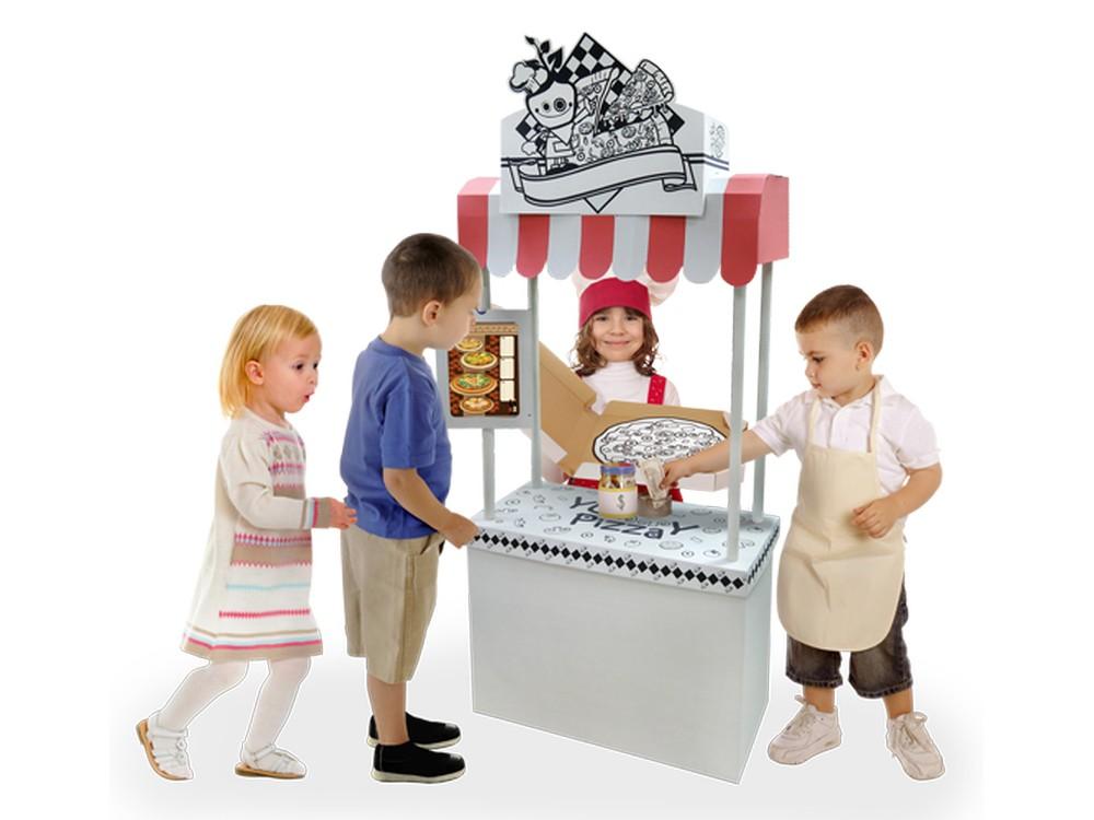 Домик из картона «Пиццерия»Плакаты-раскраски<br>Картонный игровой домик «Пиццерия» – это чудесное приобретение для вашего малыша. Игрушка развивает воображение и творческую фантазию. «Пиццерия» отлично подходит для совместного времяпрепровождения. Дети могут играть как со своими друзьями, так и с кем н...<br><br>Артикул: 11350<br>Размер: 75x30x168 см<br>Вес: 5 кг<br>Материал: многослойный гипоаллергенный картон<br>Размер упаковки: 117x62x10 см
