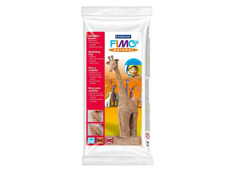 Cамозатвердевающая полимерная глина FIMOair natural (песочный) 350 гСамозатвердевающая глина<br><br><br>Артикул: 8150-7<br>Вес: 350 г<br>Цвет: Песочный<br>Серия: FIMOair natural