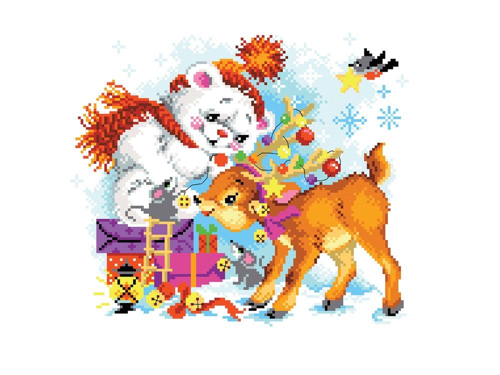 Набор для вышивания «Новогодний переполох»Вышивка крестом Матренин Посад<br><br><br>Артикул: 6108/СК<br>Основа: канва Aida 14<br>Размер: 28x34 см<br>Техника вышивки: счетный крест<br>Тип схемы вышивки: Цветная схема<br>Цвет канвы: Белый<br>Размер вышитой работы: 23,4x20,3 см<br>Количество цветов: 23<br>Заполнение: Частичное<br>Рисунок на канве: не нанесён<br>Техника: Вышивка крестом<br>Нитки: нитки мулине ПНК им. Кирова