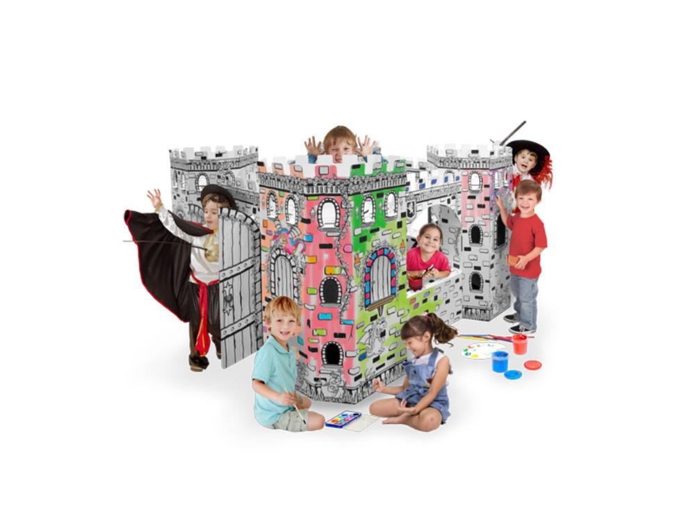 Домик из картона «Крепость»Плакаты-раскраски<br>Картонный домик «Крепость» - это отличная идея для детского праздника. Он имеет значительные размеры, представьте себе почти 2х2 метра и 1 метр высотой, что позволяет занять целую ватагу детворы, и всем там хватит места. Это не просто забава, но и чу...<br><br>Артикул: 8942<br>Размер: 177x177x110 см<br>Вес: 10 кг<br>Материал: многослойный гипоаллергенный картон<br>Размер упаковки: 117x62x10 см