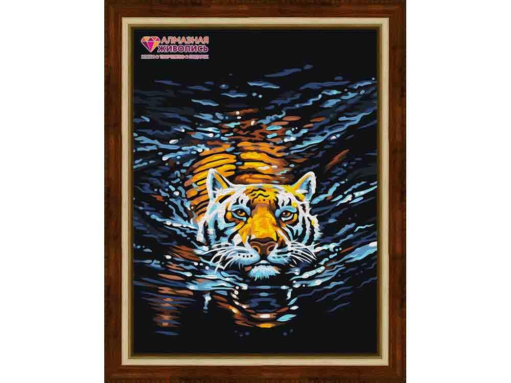 Алмазная вышивка «Плывущий тигр»Алмазная Живопись<br><br><br>Артикул: АЖ-1521<br>Основа: Холст без подрамника<br>Сложность: средние<br>Размер: 30x40 см<br>Выкладка: Полная<br>Количество цветов: 18<br>Тип страз: Квадратные