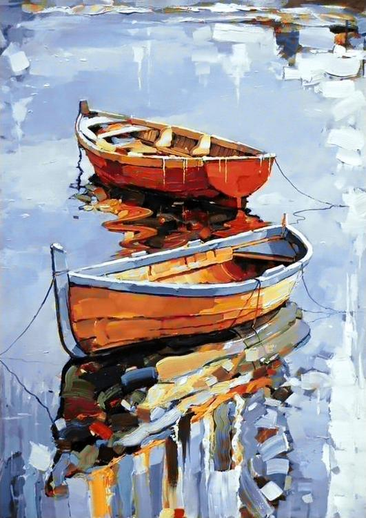 Алмазная вышивка «Лодки»Алмазная вышивка Гранни<br><br><br>Артикул: Ag701<br>Основа: Холст без подрамника<br>Сложность: сложные<br>Размер: 27x38 см<br>Выкладка: Полная<br>Количество цветов: 35