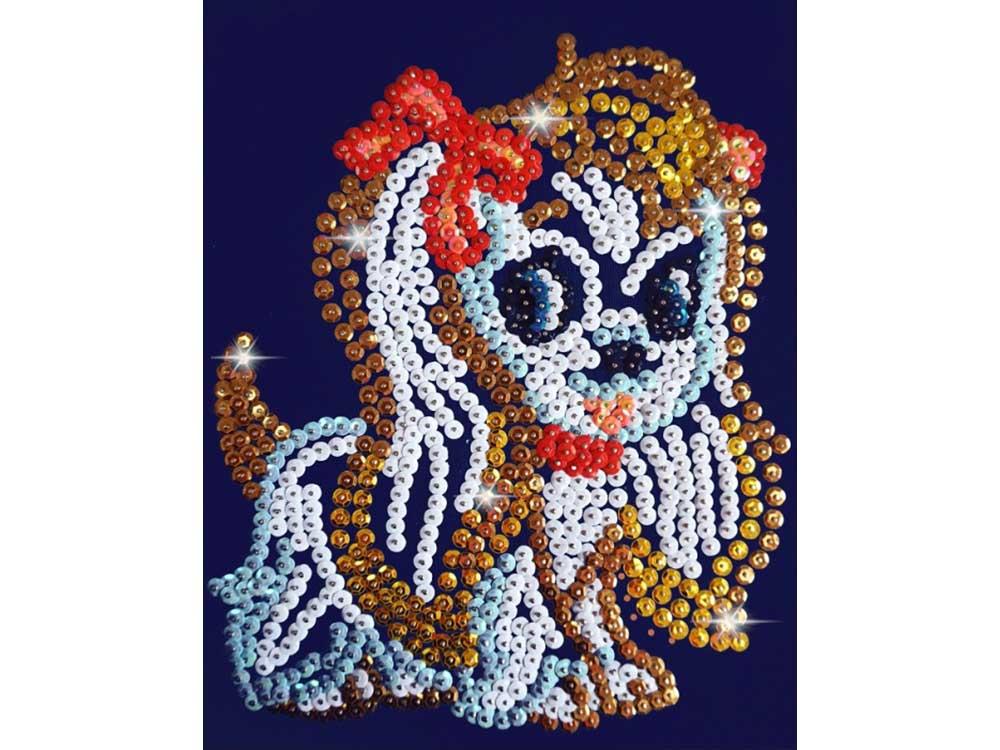 Мозаика из пайеток «Собачка»Мозаика из пайеток<br><br><br>Артикул: CM005<br>Основа: Холст на подрамнике<br>Размер: 24x30 см<br>Количество цветов: 9<br>Возраст: от 8 лет