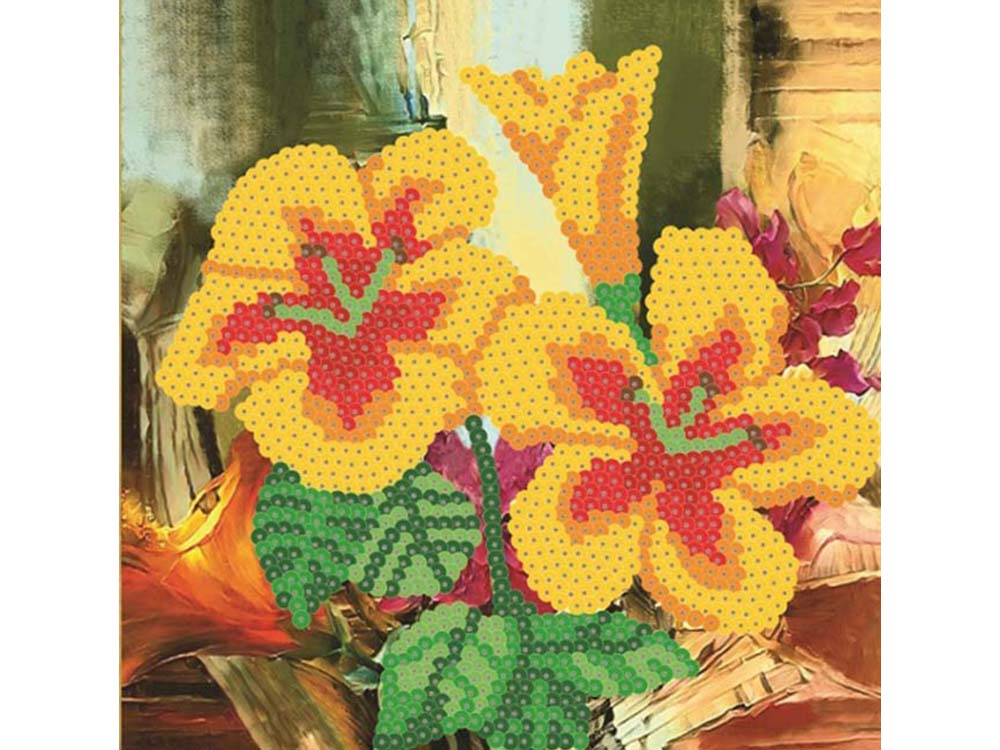 Мозаика из пайеток «Лилии»Мозаика из пайеток<br><br><br>Артикул: CMD010<br>Основа: Холст на подрамнике<br>Размер: 30x30 см<br>Количество цветов: 5-12<br>Возраст: от 8 лет