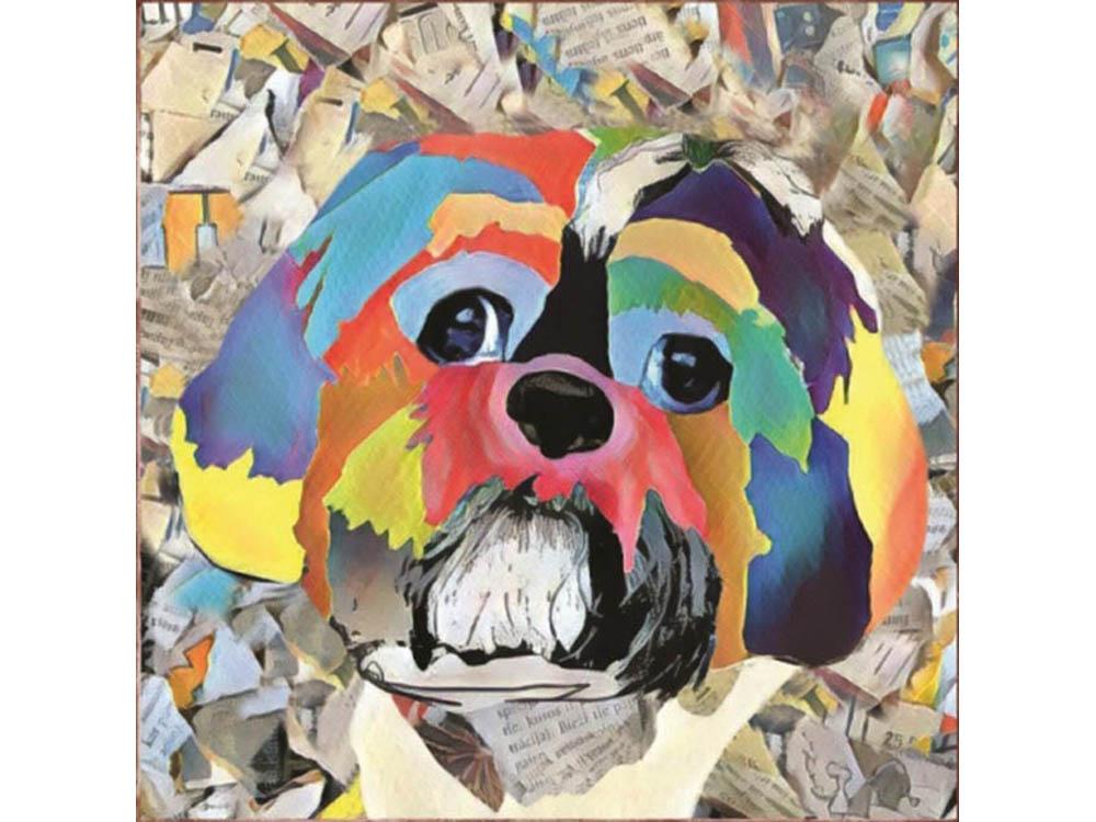 Мозаика из пайеток «Собака»Мозаика из пайеток<br><br><br>Артикул: CMD012<br>Основа: Холст на подрамнике<br>Размер: 30x30 см<br>Количество цветов: 13<br>Возраст: от 8 лет