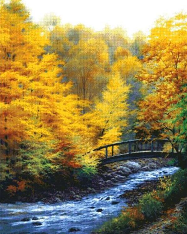 Алмазная вышивка «Мост у быстрой реки»Яркие Грани<br><br><br>Артикул: DS107<br>Основа: Холст без подрамника<br>Сложность: очень сложные<br>Размер: 88x110  см<br>Выкладка: Полная<br>Количество цветов: 64<br>Тип страз: Квадратные