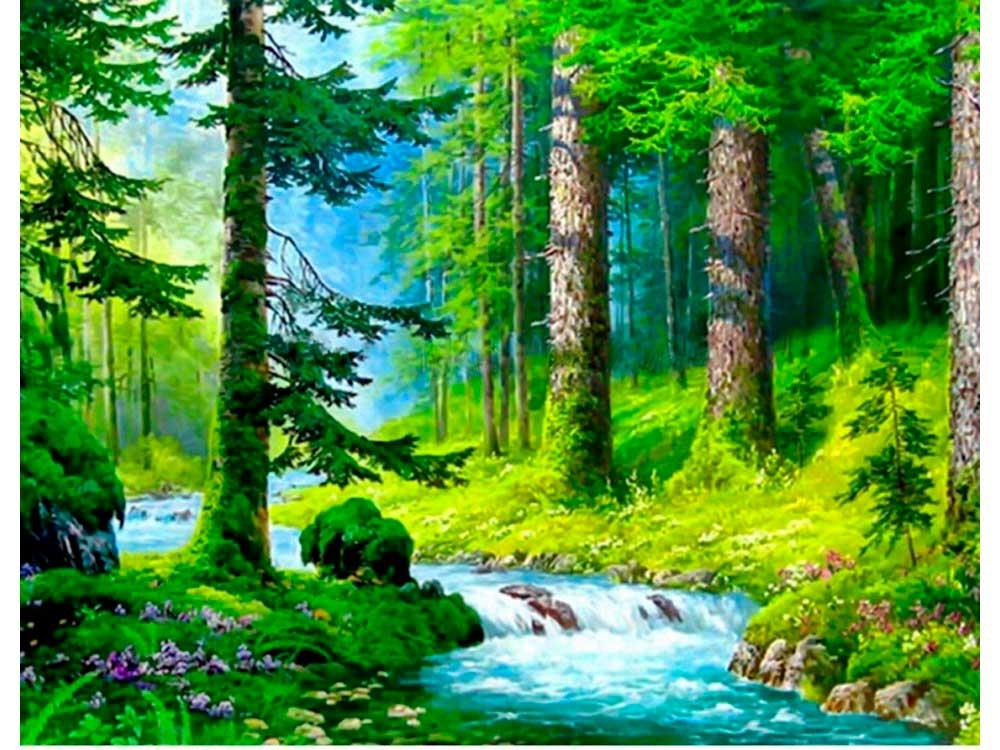 Алмазная вышивка «Речка в лесу»Алмазная вышивка Painting Diamond<br><br><br>Артикул: GF1491<br>Основа: Холст на подрамнике<br>Сложность: очень сложные<br>Размер: 40x50 см<br>Выкладка: Полная<br>Количество цветов: 34