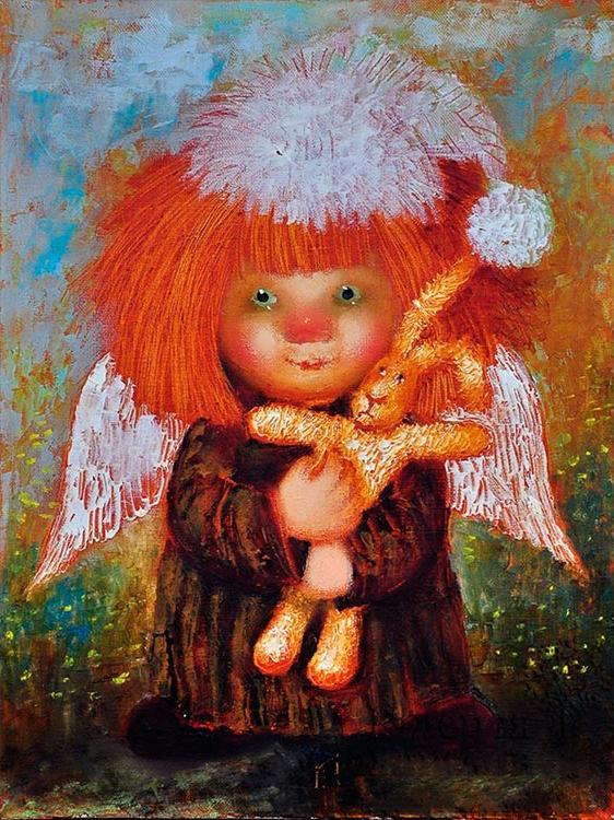 «Ангел с кроликом» Галины ЧувиляевойPaintboy (Premium)<br><br><br>Артикул: GX3546<br>Основа: Холст<br>Сложность: средние<br>Размер: 40x50 см<br>Количество цветов: 25<br>Техника рисования: Без смешивания красок