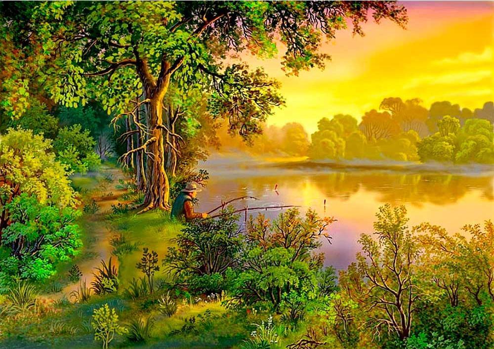Картина по номерам «На рыбалке» Виктора ЦыгановаРаскраски по номерам<br><br>