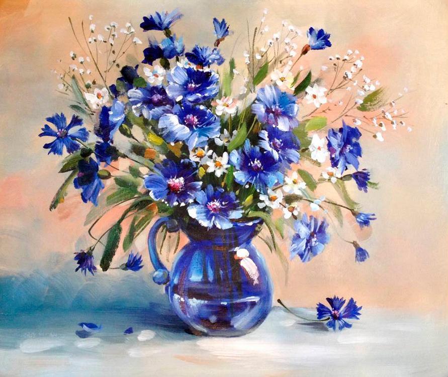Картина по номерам «Букет с васильками» Антонио ДжанильяттиPaintboy (Premium)<br><br><br>Артикул: GX5556<br>Основа: Холст<br>Сложность: сложные<br>Размер: 40x50 см<br>Количество цветов: 30<br>Техника рисования: Без смешивания красок