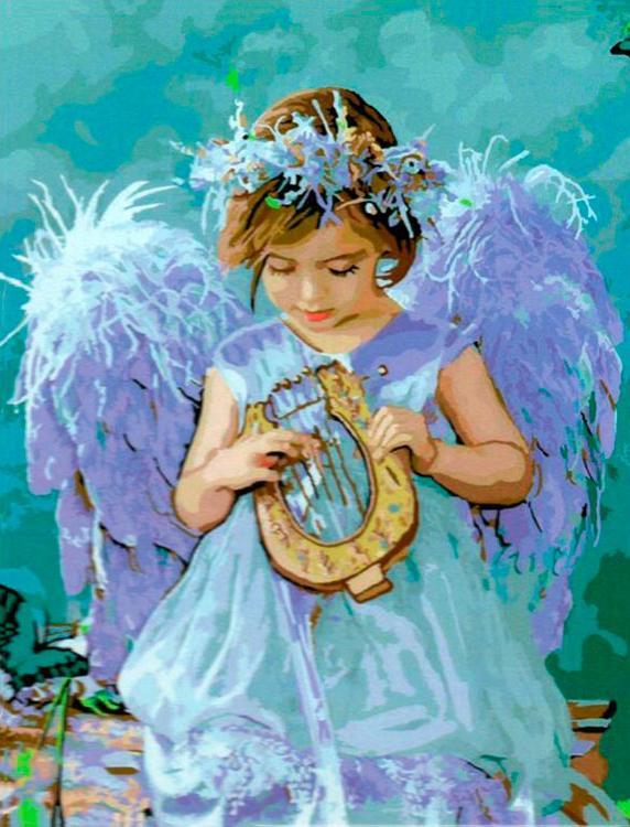 Купить Картина по номерам «Ангел с арфой» Лизы Джейн, Paintboy (Premium)