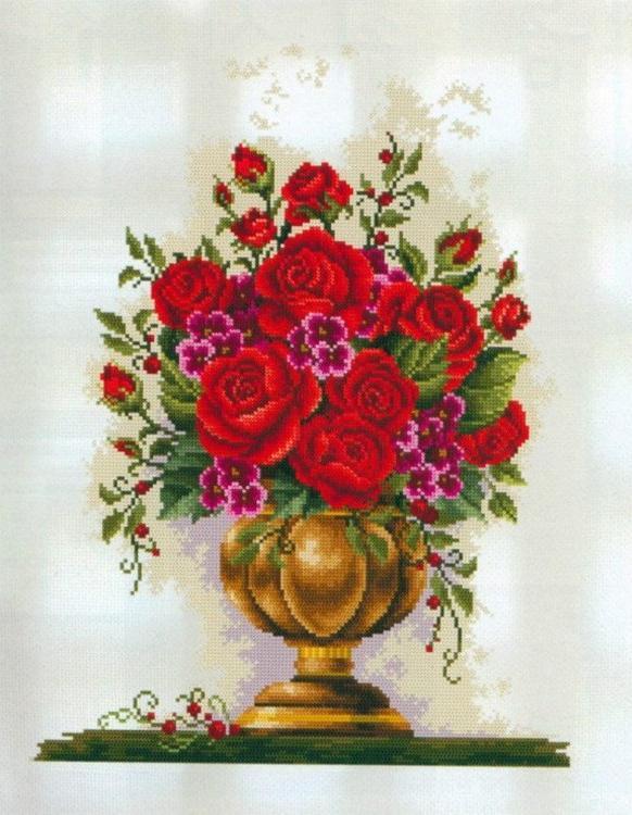 Алмазная вышивка «Розы в вазе»Алмазная вышивка Painting Diamond<br><br><br>Артикул: GF1357<br>Основа: Холст на подрамнике<br>Сложность: очень сложные<br>Размер: 40x50 см<br>Выкладка: Полная<br>Количество цветов: 35