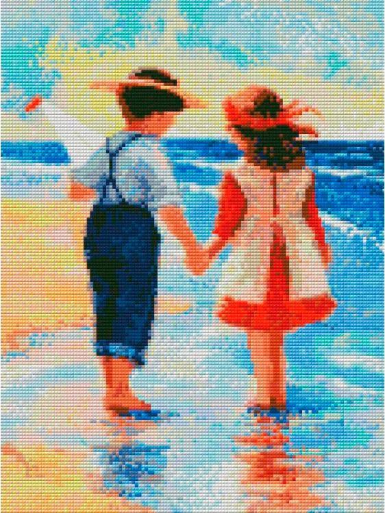 Алмазная вышивка «Дети у моря»
