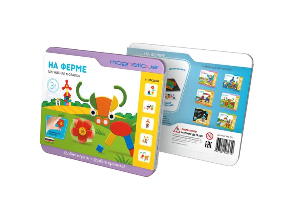 Магнитная мозаика «На ферме»Магнитные наборы<br>Мягкая магнитная мозаика - это одновременно и развлекательная, и обучающая игра. Картинки-сюжеты помогут полностью погрузить ребенка в изучаемую тему, а вращающиеся элементы сделают процесс сборки занимательным и увлекательным. Игра в мозаику способст...<br><br>Артикул: МС-012<br>Размер упаковки: 21,5x20x2,5 см<br>Возраст: от 3 лет