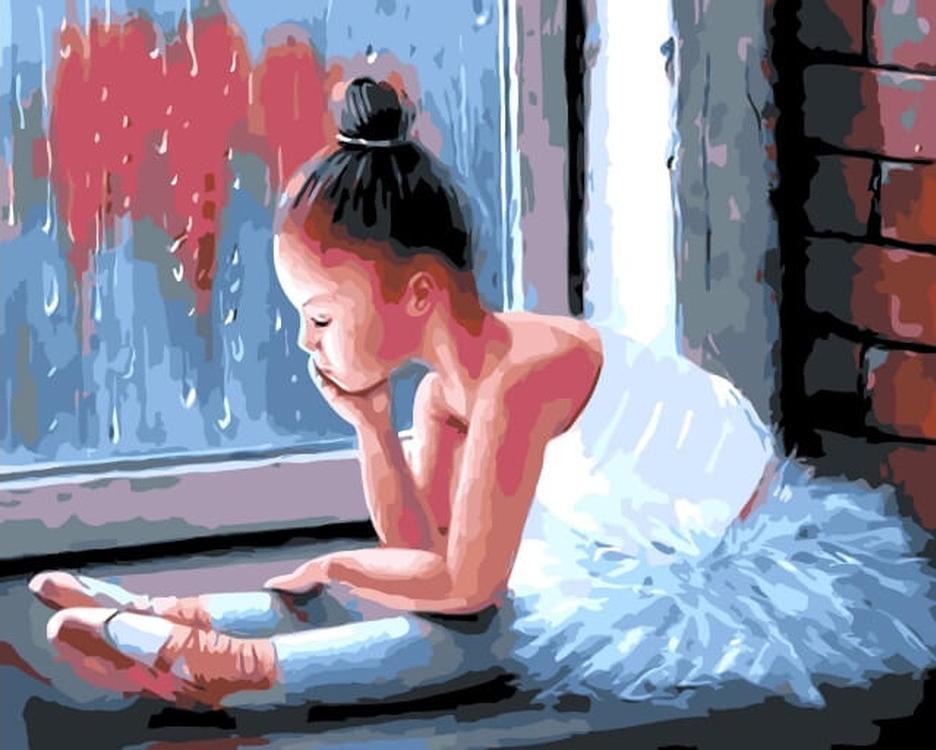 Картина по номерам «Маленькая балерина» Рауфа ДжанибековаЦветной (Premium)<br><br><br>Артикул: MG6001_Z<br>Основа: Холст<br>Сложность: сложные<br>Размер: 40x50 см<br>Количество цветов: 24<br>Техника рисования: Без смешивания красок
