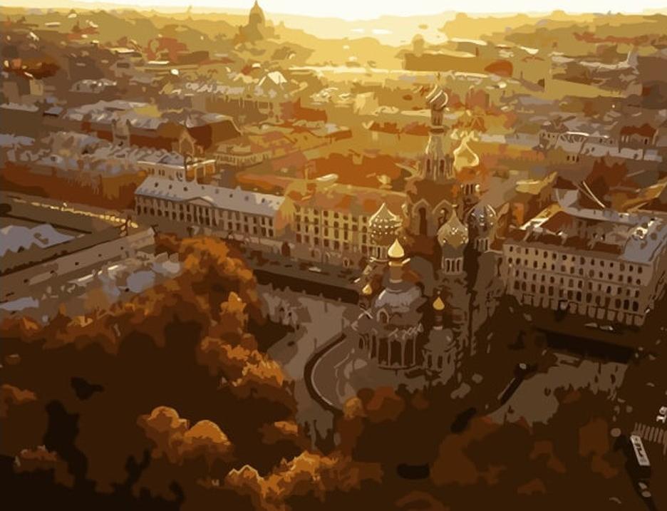 Картина по номерам «Санкт-Петербург»Цветной (Premium)<br><br><br>Артикул: MG6029_Z<br>Основа: Холст<br>Сложность: сложные<br>Размер: 40x50 см<br>Количество цветов: 22<br>Техника рисования: Без смешивания красок