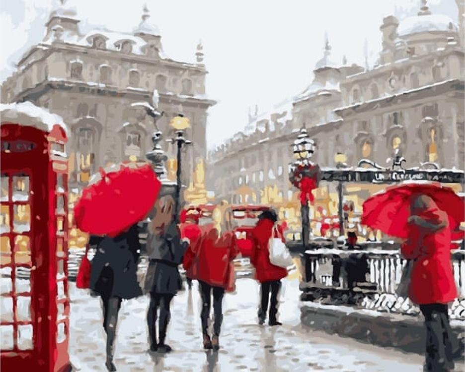 «Лондон в снегу» Ричарда МакнейлаЦветной (Premium)<br><br><br>Артикул: MG6034_Z<br>Основа: Холст<br>Сложность: сложные<br>Размер: 40x50 см<br>Количество цветов: 24<br>Техника рисования: Без смешивания красок