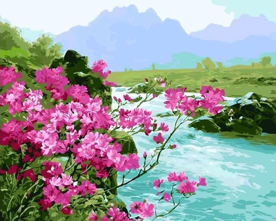 Картина по номерам «Бирюзовая река»Цветной (Premium)<br><br><br>Артикул: MG6044_Z<br>Основа: Холст<br>Сложность: сложные<br>Размер: 40x50 см<br>Количество цветов: 24<br>Техника рисования: Без смешивания красок