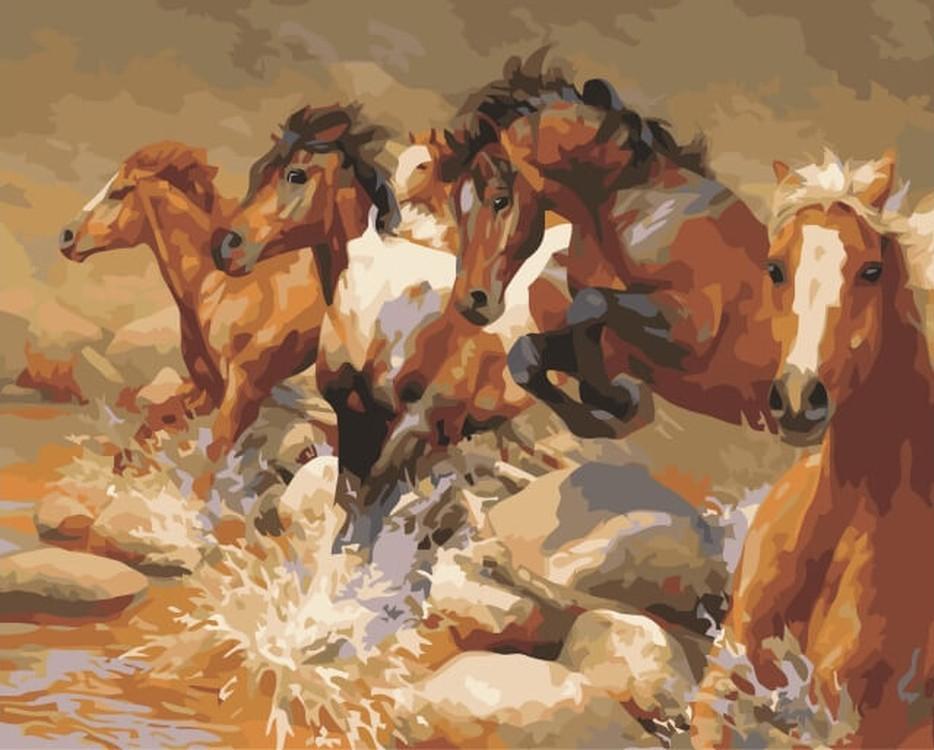 Картина по номерам «Табун лошадей» Бонни МаррисЦветной (Premium)<br><br><br>Артикул: MG6053_Z<br>Основа: Холст<br>Сложность: сложные<br>Размер: 40x50 см<br>Количество цветов: 24<br>Техника рисования: Без смешивания красок
