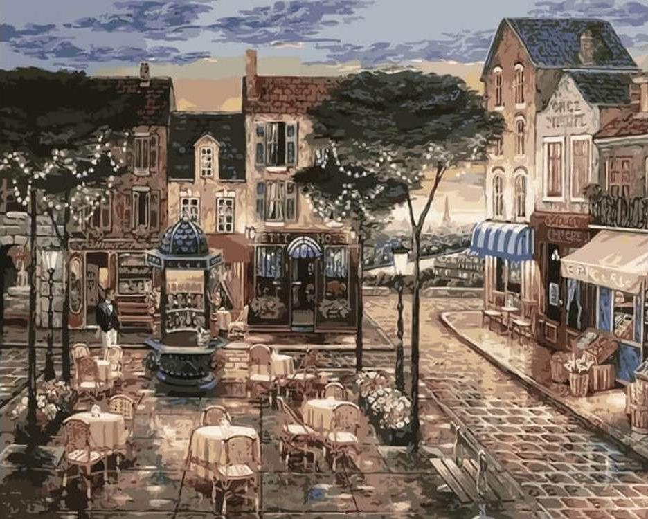 Картина по номерам «Парижское кафе» Джона О'БрайенаЦветной (Premium)<br><br><br>Артикул: MG6059_Z<br>Основа: Холст<br>Сложность: сложные<br>Размер: 40x50 см<br>Количество цветов: 21<br>Техника рисования: Без смешивания красок