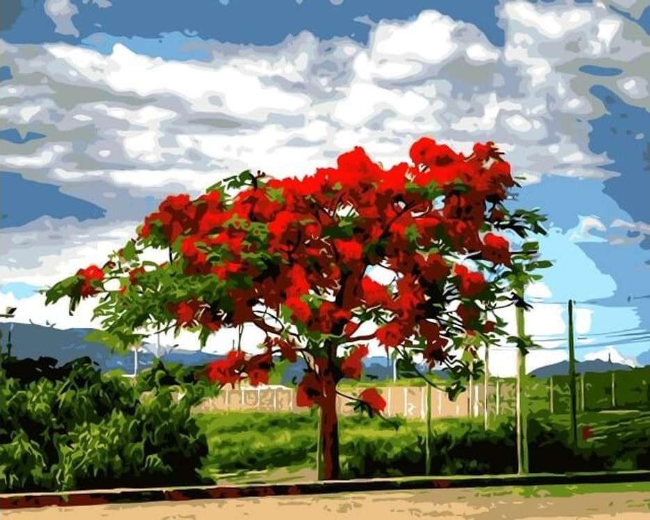 Картина по номерам «Огненное дерево»Цветной (Premium)<br><br><br>Артикул: MG6073_Z<br>Основа: Холст<br>Сложность: сложные<br>Размер: 40x50 см<br>Количество цветов: 24<br>Техника рисования: Без смешивания красок