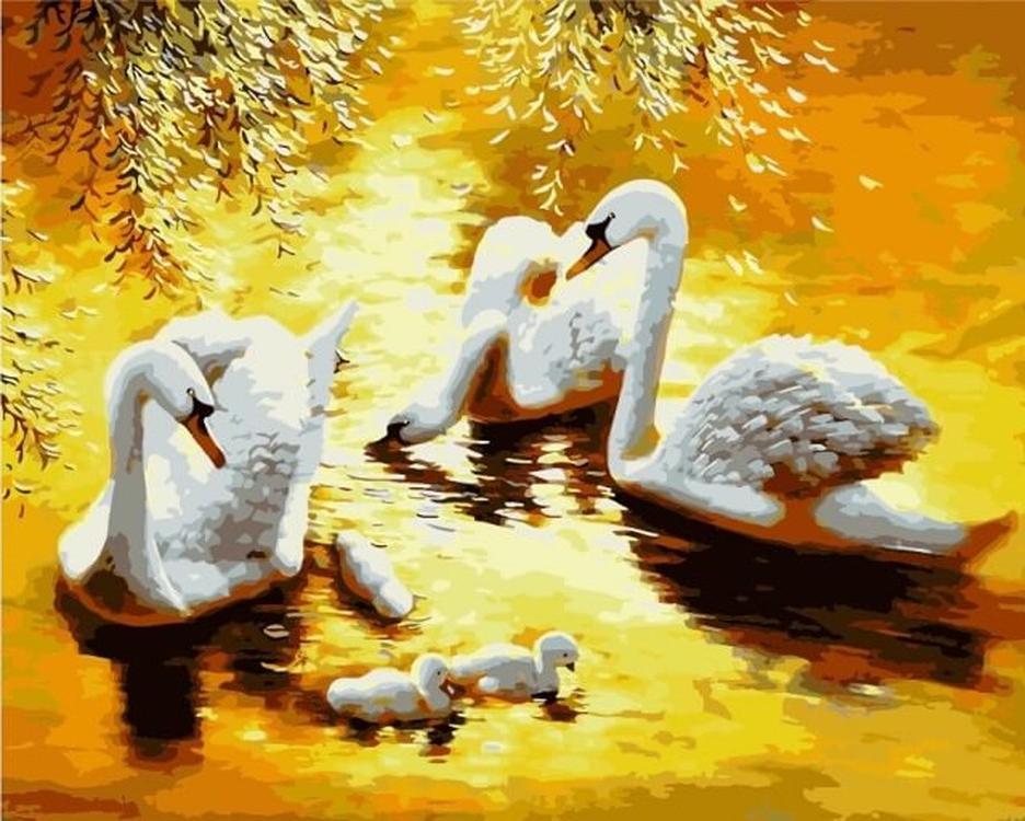 Картина по номерам «Лебединая семья»Цветной (Premium)<br><br><br>Артикул: MG6086_Z<br>Основа: Холст<br>Сложность: сложные<br>Размер: 40x50 см<br>Количество цветов: 24<br>Техника рисования: Без смешивания красок