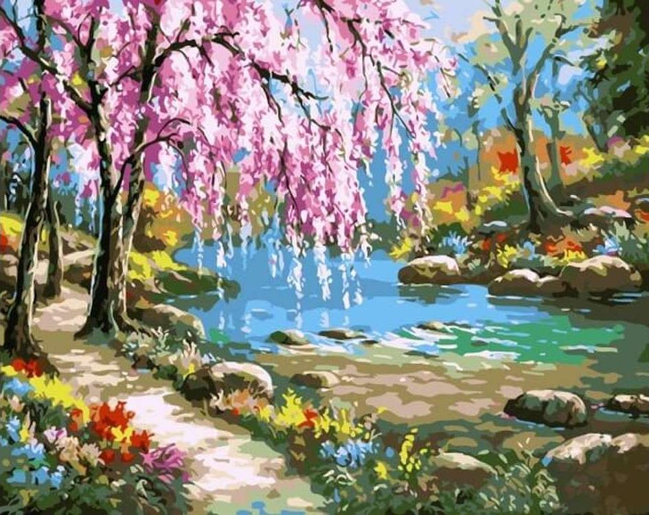 Картина по номерам «Сакура у реки» Сен КимаЦветной (Premium)<br><br><br>Артикул: MG6099_Z<br>Основа: Холст<br>Сложность: сложные<br>Размер: 40x50 см<br>Количество цветов: 24<br>Техника рисования: Без смешивания красок