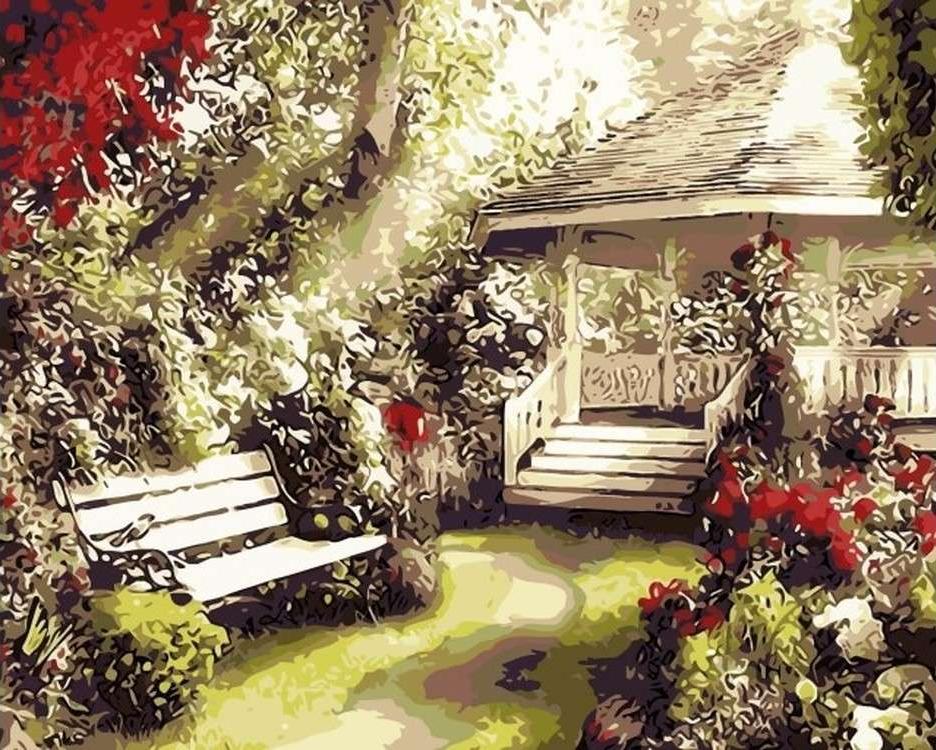 Картина по номерам «Беседка в саду» Алана ГианаЦветной (Premium)<br><br><br>Артикул: MG6105_Z<br>Основа: Холст<br>Сложность: сложные<br>Размер: 40x50 см<br>Количество цветов: 17<br>Техника рисования: Без смешивания красок