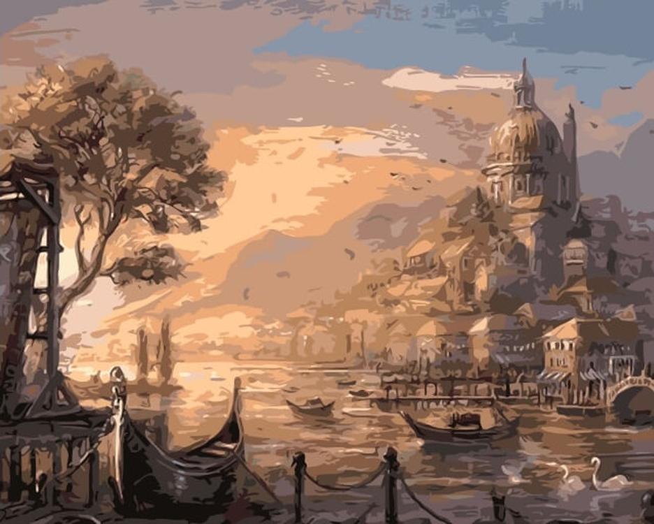 Картина по номерам «Замок на закате»Цветной (Premium)<br><br><br>Артикул: MG6131_Z<br>Основа: Холст<br>Сложность: сложные<br>Размер: 40x50 см<br>Количество цветов: 22<br>Техника рисования: Без смешивания красок