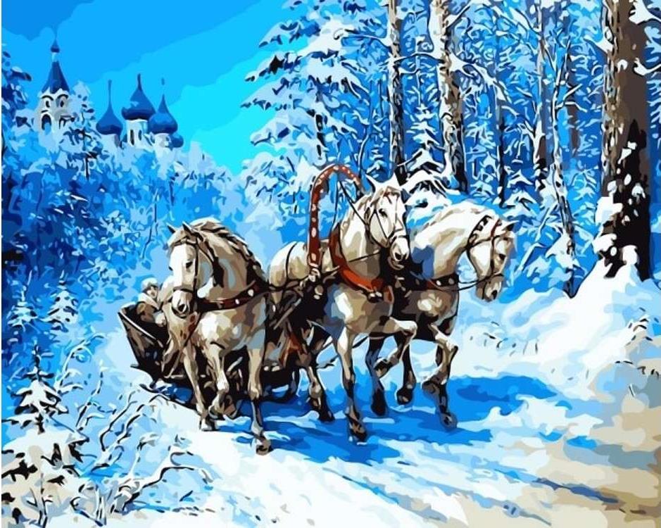 Картина по номерам «Тройка лошадей»Цветной (Premium)<br><br><br>Артикул: MG6221_Z<br>Основа: Холст<br>Сложность: сложные<br>Размер: 40x50 см<br>Количество цветов: 28<br>Техника рисования: Без смешивания красок
