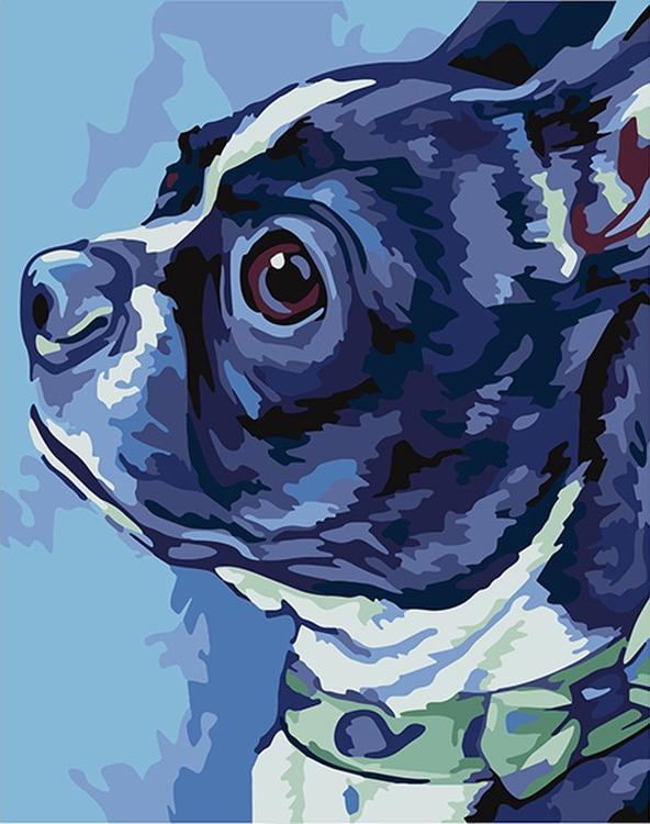"""Картина по номерам «Бостон-терьер» (мини-раскраска)Мини-раскраска<br>Картина по номерам раскрашивается с применением техники смешивания красок.<br> <br> Картины по номерам """"Артвентура"""" в компактном мини-размере. Российский производитель картин премиум-класса креативно реализовал идею и пожелания многих поклонников раскрасок по...<br><br>Артикул: MINI16130067<br>Основа: Картон<br>Сложность: средние<br>Размер: 16,5x13 см<br>Количество цветов: 14<br>Техника рисования: Со смешиванием красок"""