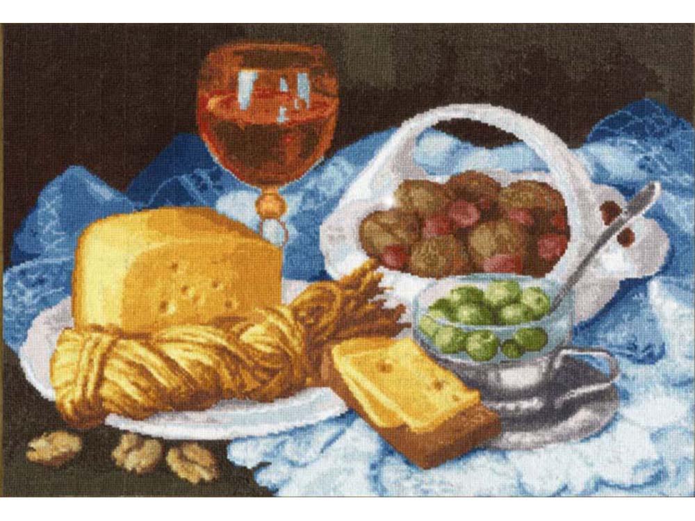 Набор для вышивания «Натюрморт с сыром» по мотивам картины Елены ШумаковойВышивка крестом Золотое Руно<br><br><br>Артикул: СЖ-048<br>Основа: канва Aida 18<br>Размер: 27,3x39,3 см<br>Техника вышивки: счетный крест<br>Тип схемы вышивки: Черно-белая схема<br>Цвет канвы: Кремовый<br>Количество цветов: 55<br>Заполнение: Полное<br>Рисунок на канве: не нанесён<br>Техника: Вышивка крестом
