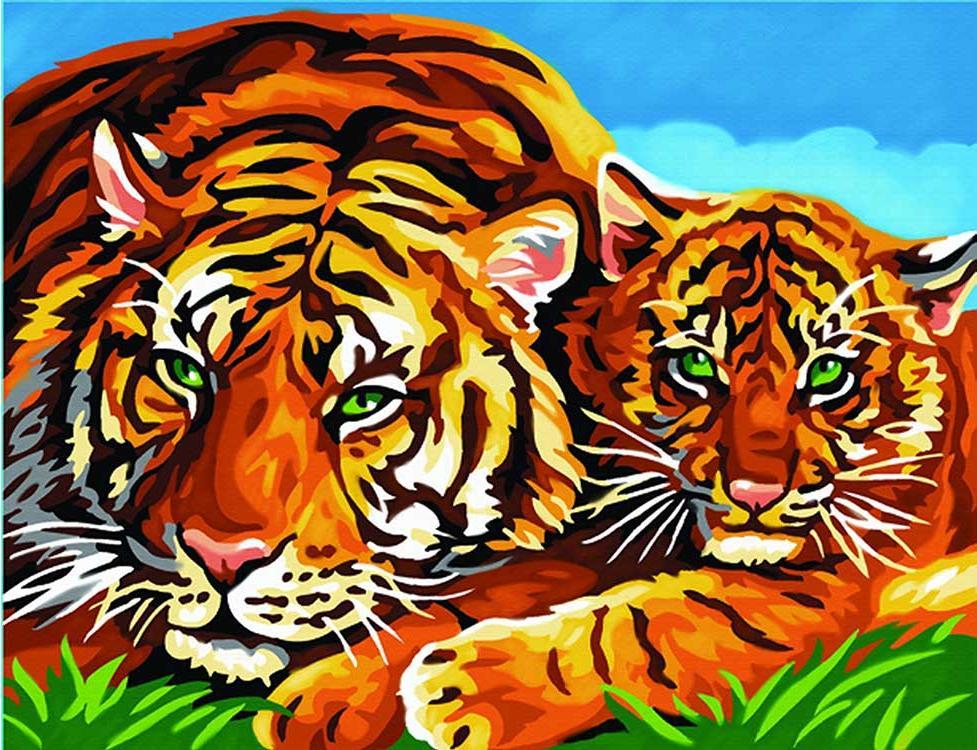 Картина по номерам «Тигры»