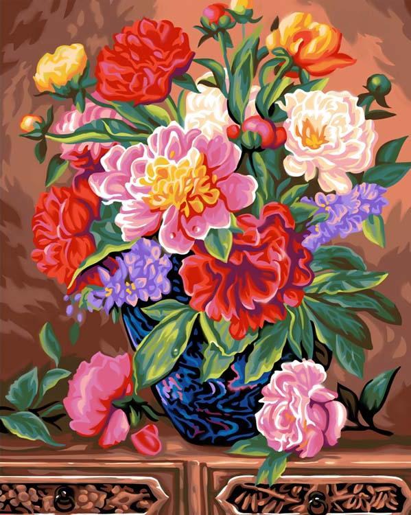 Картина по номерам «Пионы»KSG<br>Картина по номерам раскрашивается с применением техники смешивания красок.<br> <br> В наборе предусмотрены базовые цвета, однако смешивание красок занятие достаточно простое и доступное каждому.<br> KSG (Великобритания) - бренд, специализирующийся на изготовлен...<br><br>Артикул: 1102<br>Основа: Картон<br>Сложность: средние<br>Размер: 40x50 см<br>Количество цветов: 30<br>Техника рисования: Со смешиванием красок