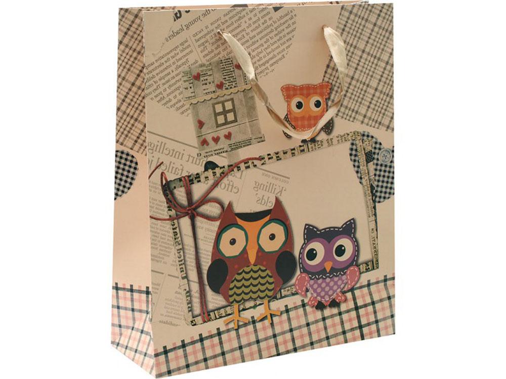 Подарочный пакет «Совы с совенком»Подарочные пакеты<br>Оригинальные подарочные пакеты станут прекрасным дополнением для вашего подарка. Пакеты выполнены из качественной плотной бумаги с хорошей печатью.<br><br>Артикул: 1431-SB<br>Размер: 26x12x32 см