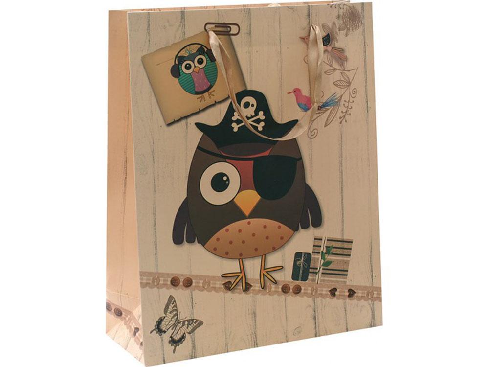 Подарочный пакет «Сова-пират»Подарочные пакеты<br>Оригинальные подарочные пакеты станут прекрасным дополнением для вашего подарка. Пакеты выполнены из качественной плотной бумаги с хорошей печатью.<br><br>Артикул: 1434-SB<br>Размер: 26x12x32 см