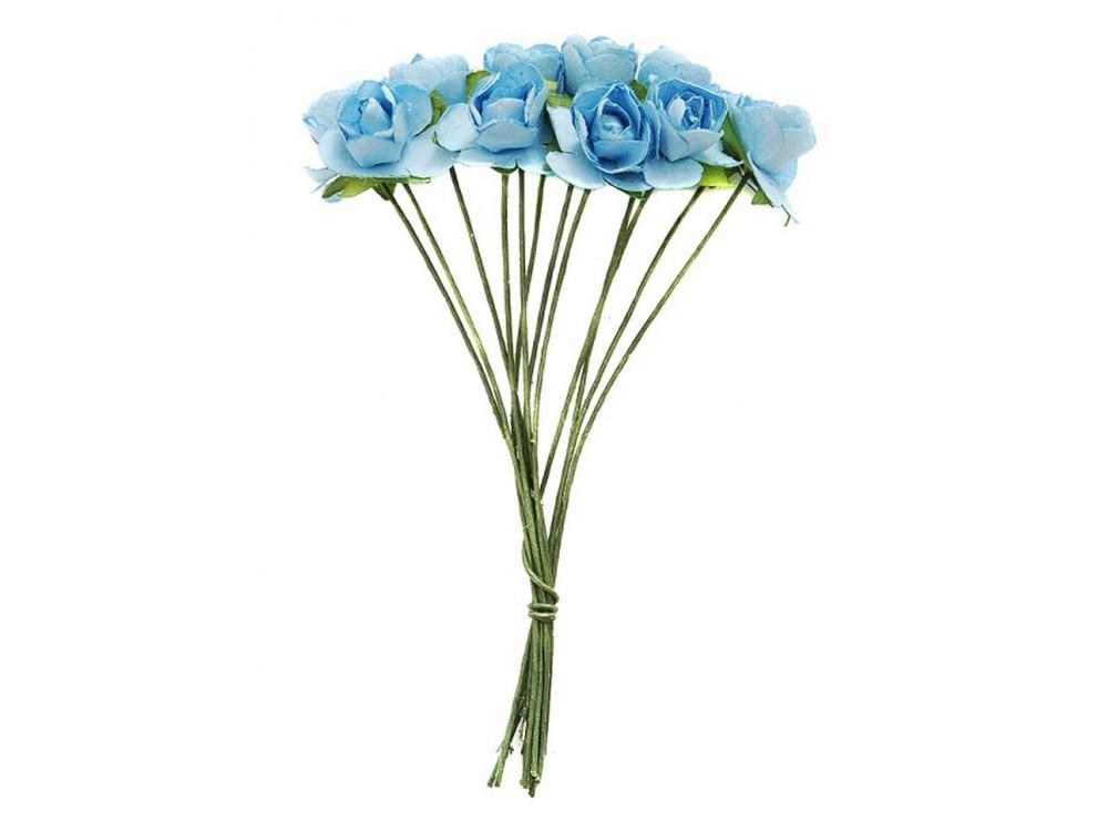 Набор цветов «Роза голубая»Бумага и материалы для скрапбукинга<br><br><br>Артикул: 4500-SB<br>Размер: (бутона) 1-1,3 см<br>Количество: 48 шт.<br>Материал: Бумага, проволока