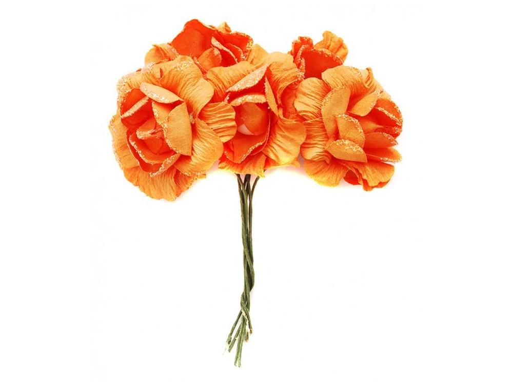 Набор цветов «Камелия оранжевая»Бумага и материалы для скрапбукинга<br><br><br>Артикул: 4537-SB<br>Размер: (бутона) 2,5-3 см<br>Количество: 12 шт.<br>Материал: Бумага, проволока