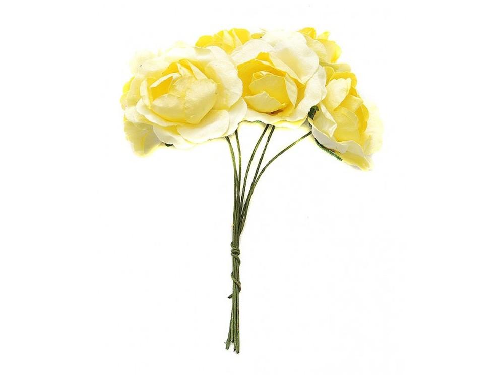 Набор цветов «Бальзамин желтый»Бумага и материалы для скрапбукинга<br><br><br>Артикул: 4553-SB<br>Размер: (бутона) 3-3,5 см<br>Количество: 12 шт.<br>Материал: Бумага, проволока